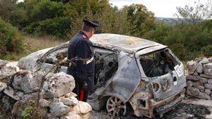 L'auto bruciata di Semeraro