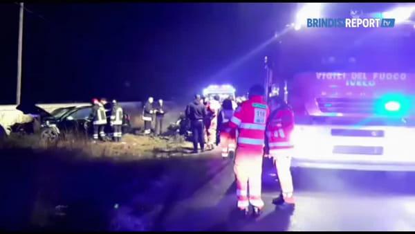 La scena dell'incidente sulla Oria-Manduria: tre veicoli coinvolti