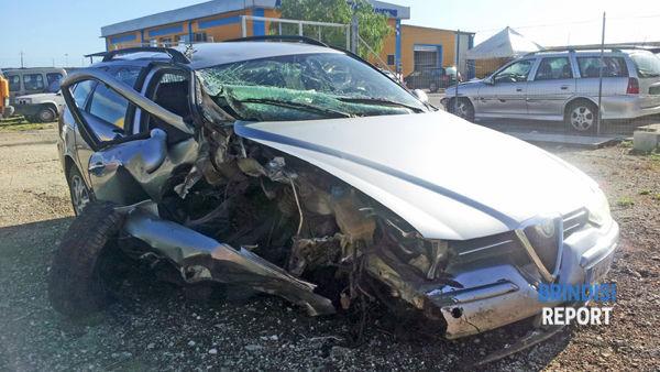 L'Alfa 156 dopo l'incidente