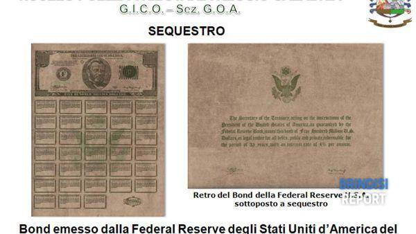 Il falso bond della Federal Reserve Usa sequestrato