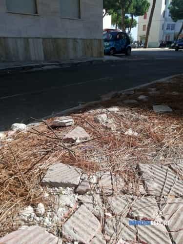 """Degrado urbano a Brindisi in Via Monticelli Teodoro Abate, 2: """"Ferri arrugginiti che escono da sotto le mattonelle di un  marciapiede in prossimità dell'asilo..."""""""