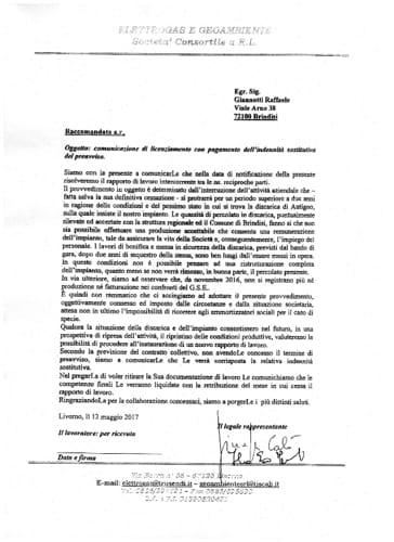 La lettera di licenziamento Geoambiente Elettrogas-2
