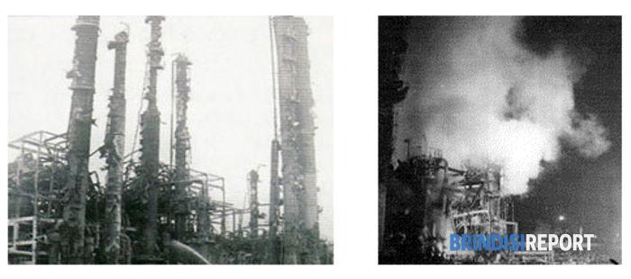 Il cracker P2T del petrolchimico Montedison di Brindisi dopo l'esplosione