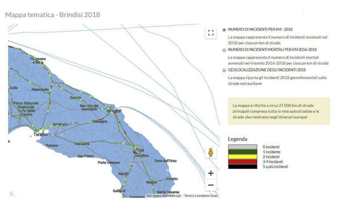 Mappa incidentalità strade provincia di Brindisi-3