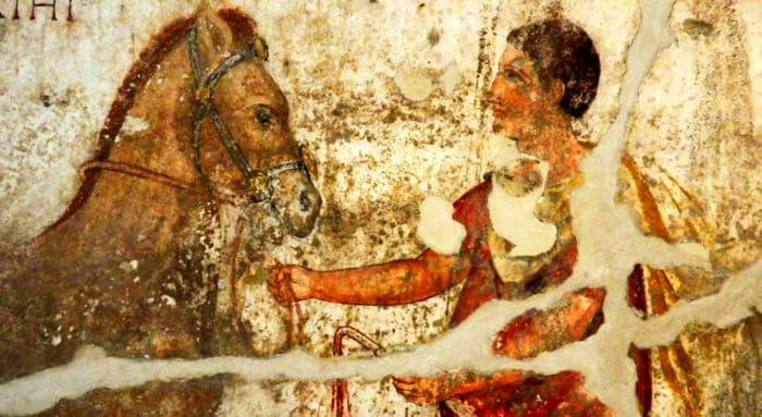 Egnazia, l'affresco di un cavaliere messapico-2